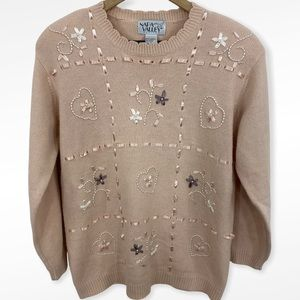 Vintage Napa Valley Pale Pink Beaded Pearl Ribbon Granny Sweater